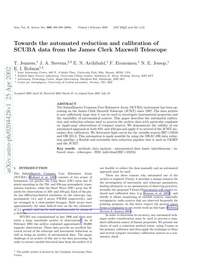 Tim Jenness - Towards the automated reduction and calibration of SCUBA data from the James Clerk Maxwell Telescope