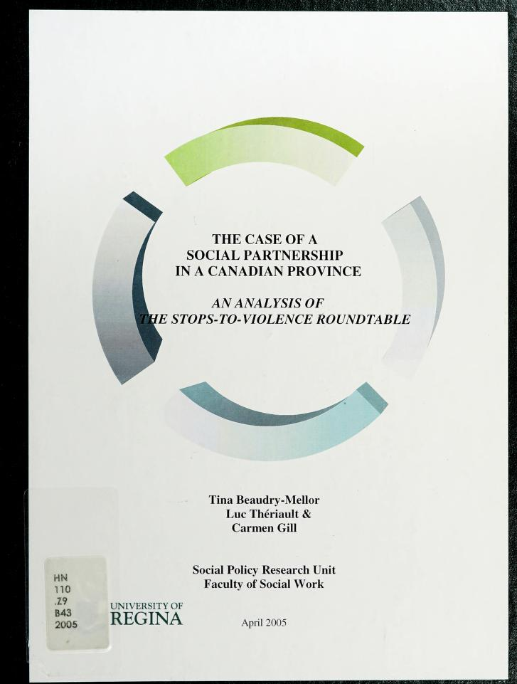 The case of a social partnership in a Canadian province by Tina Beaudry-Mellor