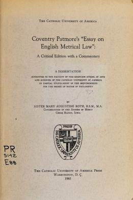 Cover of: Essay on English metrical law | Coventry Kersey Dighton Patmore