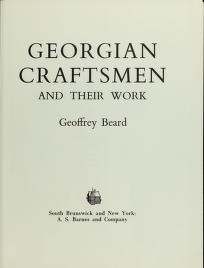 Cover of: Georgian craftsmen and their work | Geoffrey W. Beard
