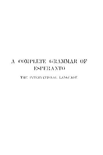 A Complete Grammar of Esperanto by Ivy Kellerman Reed